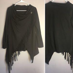 Vintage Black Shawl Sweater Fringe Cowl Neck